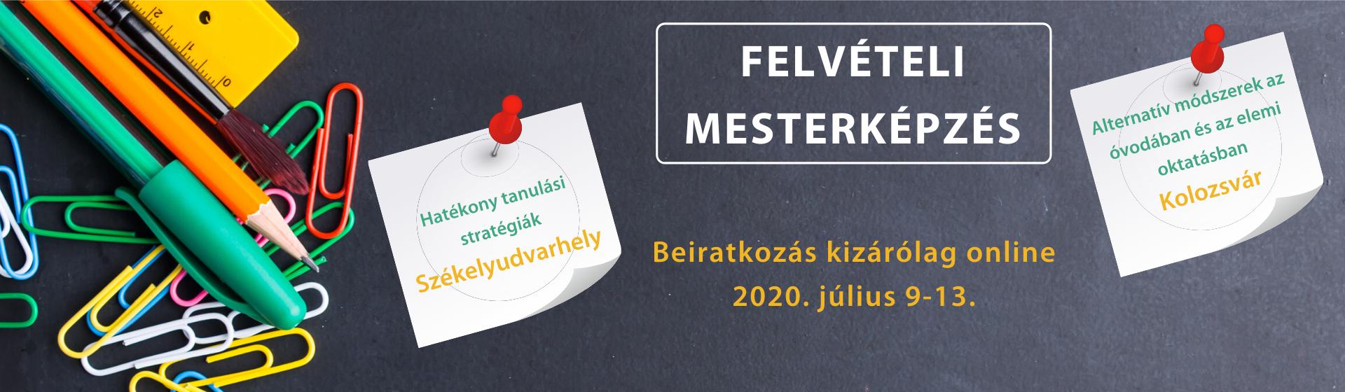 Felvételi mesterképzés 2020 – honlap banner